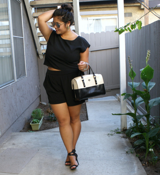 All black and cropped; OOTD