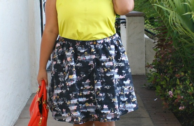 floral skirt neon top color