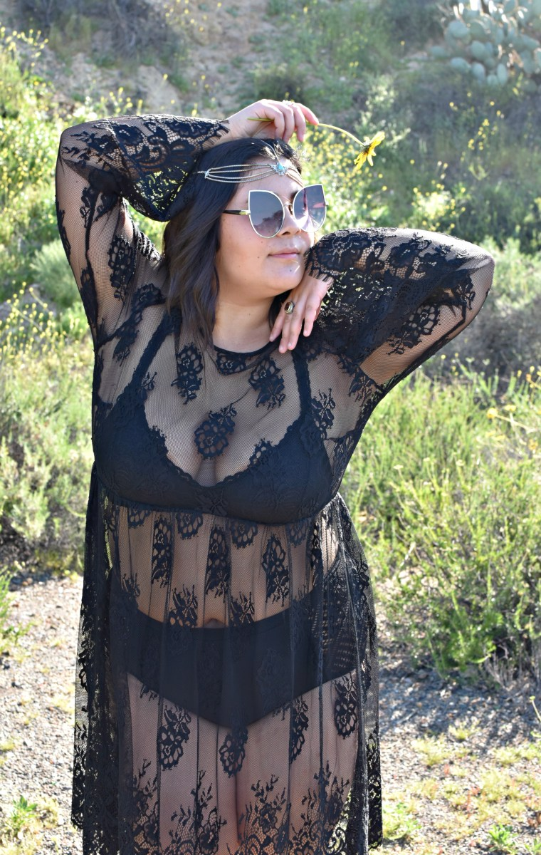 Black sheer lace Coachella style; OOTD