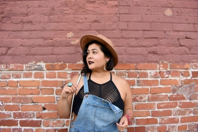 Plus size hipster overalls outfit