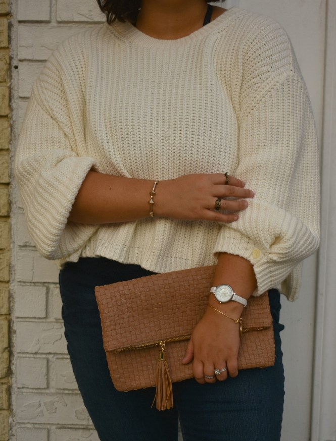 Crop knit sweater outfit