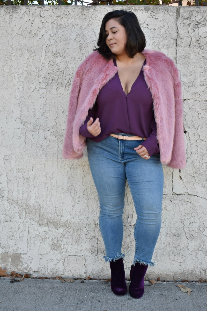 Pink faux fur jacket for the holidays; OOTD