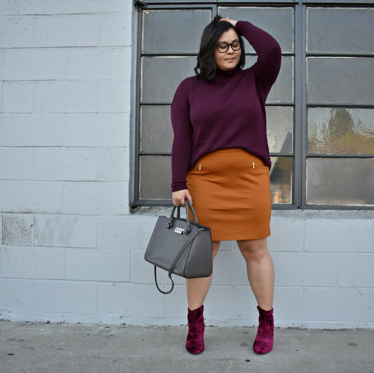 Aubergine turtleneck sweater & suede mini; OOTD
