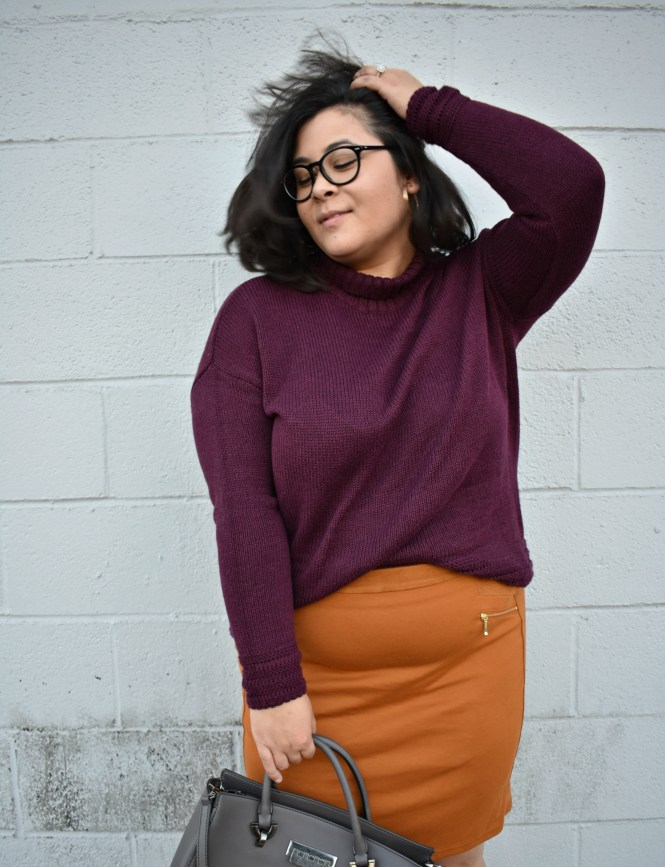 maroon turtleneck sweater