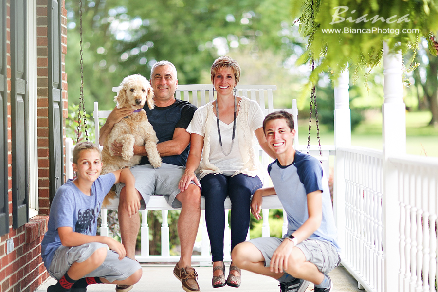 Family portrait with dog