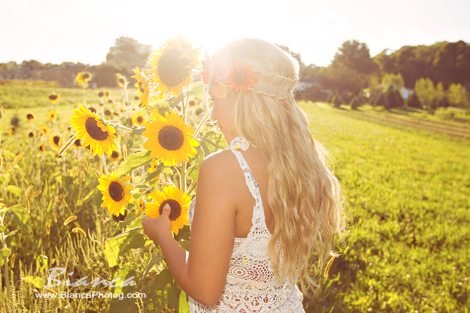 Blond in Sunflower field for senior photos