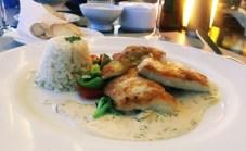 Trio vom Fisch mit GEmüse und Reis (21,70€)