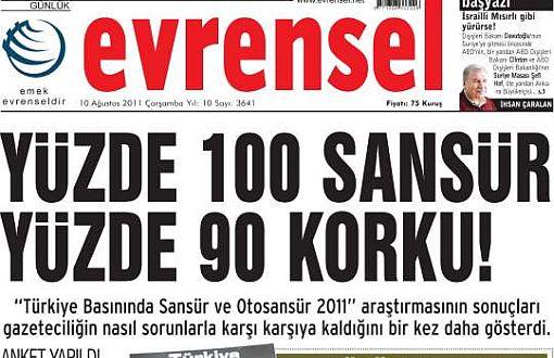 Portada del periódico Evrensel que está siendo reprimido por el dictador Erdogan