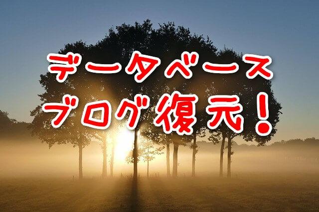 データベースからブログを復元する:朝焼けで光る木