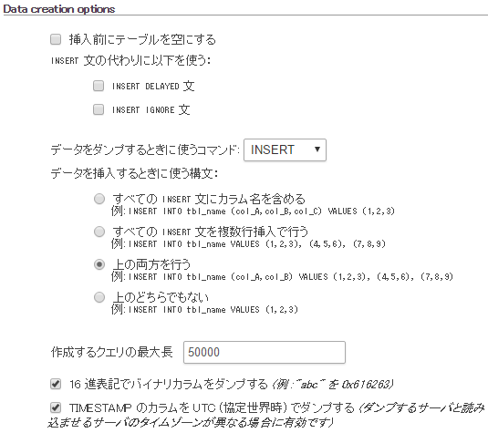 Data creation optionsの内容