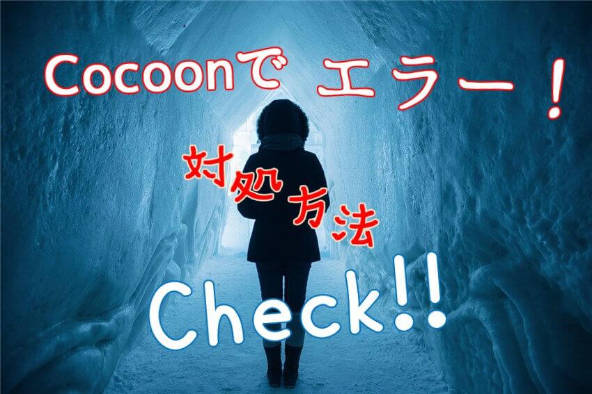 Cocoonでエラー:対処方法をCheck!:白い雪の洞窟に立つ黒い女性の影