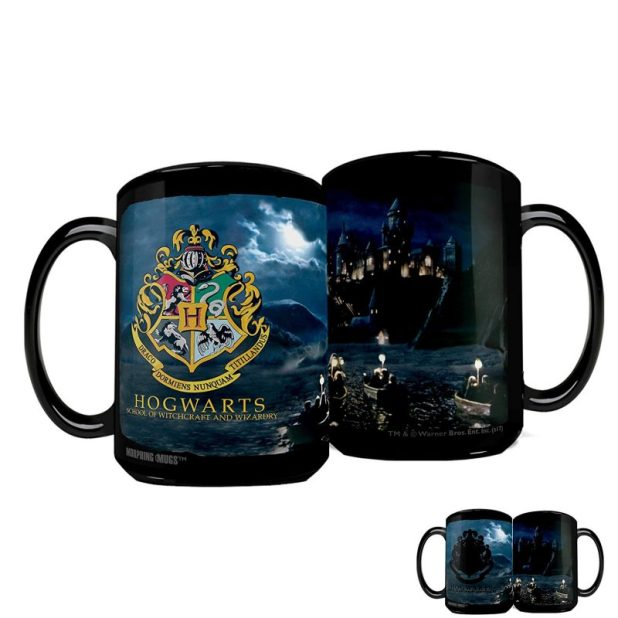 Glossy Black Mugs with Hogwarts Themed