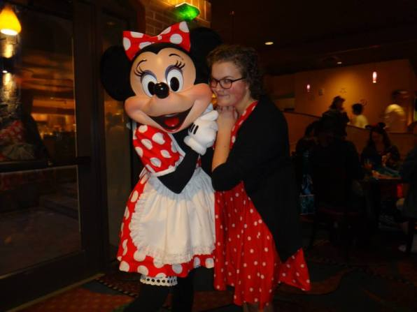 minnie mouse, character dinner, disneyland, high school reunion, disney characters, disney meet and greet