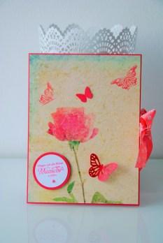 Geburstagskarte Rose, Schmetterling, handgemacht, einzigartig