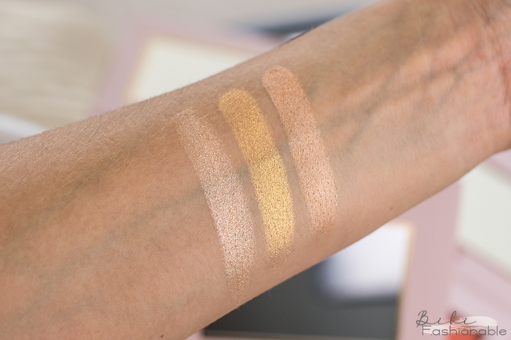 bh cosmetics Mrs. Bella Highlighter Palette goldie Swatches