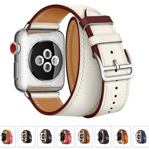 Bracelet Apple Watch double tour Cuir
