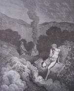 Gravure Gustave Doré la Bible Caïn et Abel offrant leur sacrifice