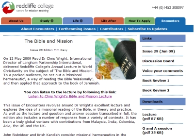 Encounters issue 29 - The Bible and Mission