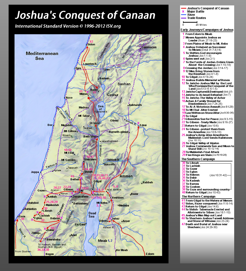 Joshua Conquest Canaan Map