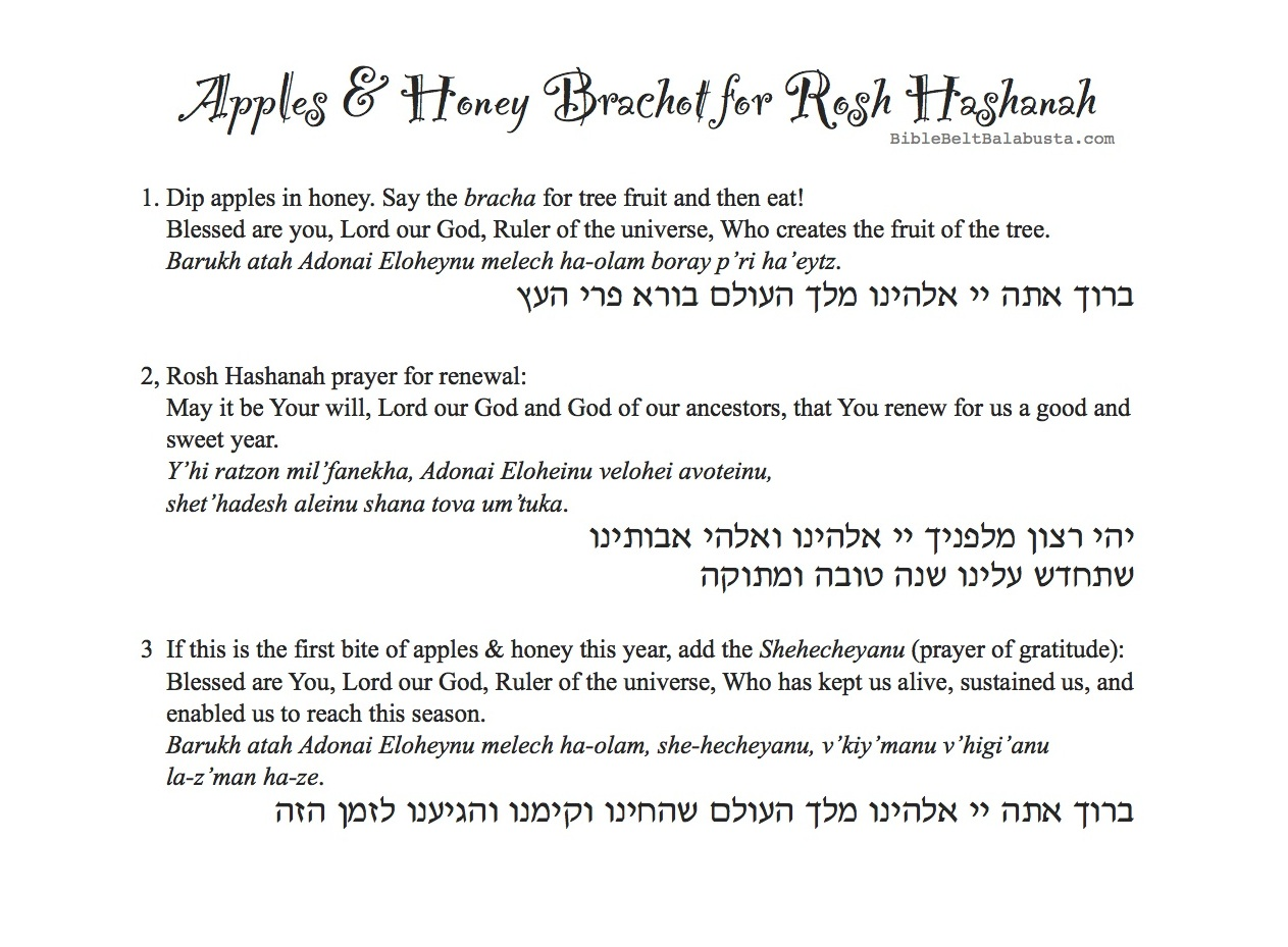 Apple Print Blessings Placemat For Rosh Hashanah With Printable Cheat Sheet