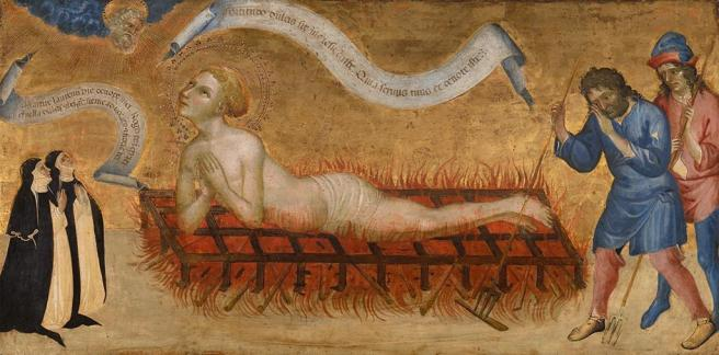 Martyrdom of St. Lawrence with two Benedictine Nuns