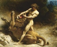 Samson-wrestling-with-the-lion-from-the-Bible-with-super-strength