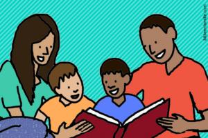 Une famille qui lit la Bible