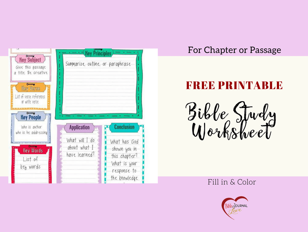 Free Bible Journal Key Worksheet Bible Journal Love
