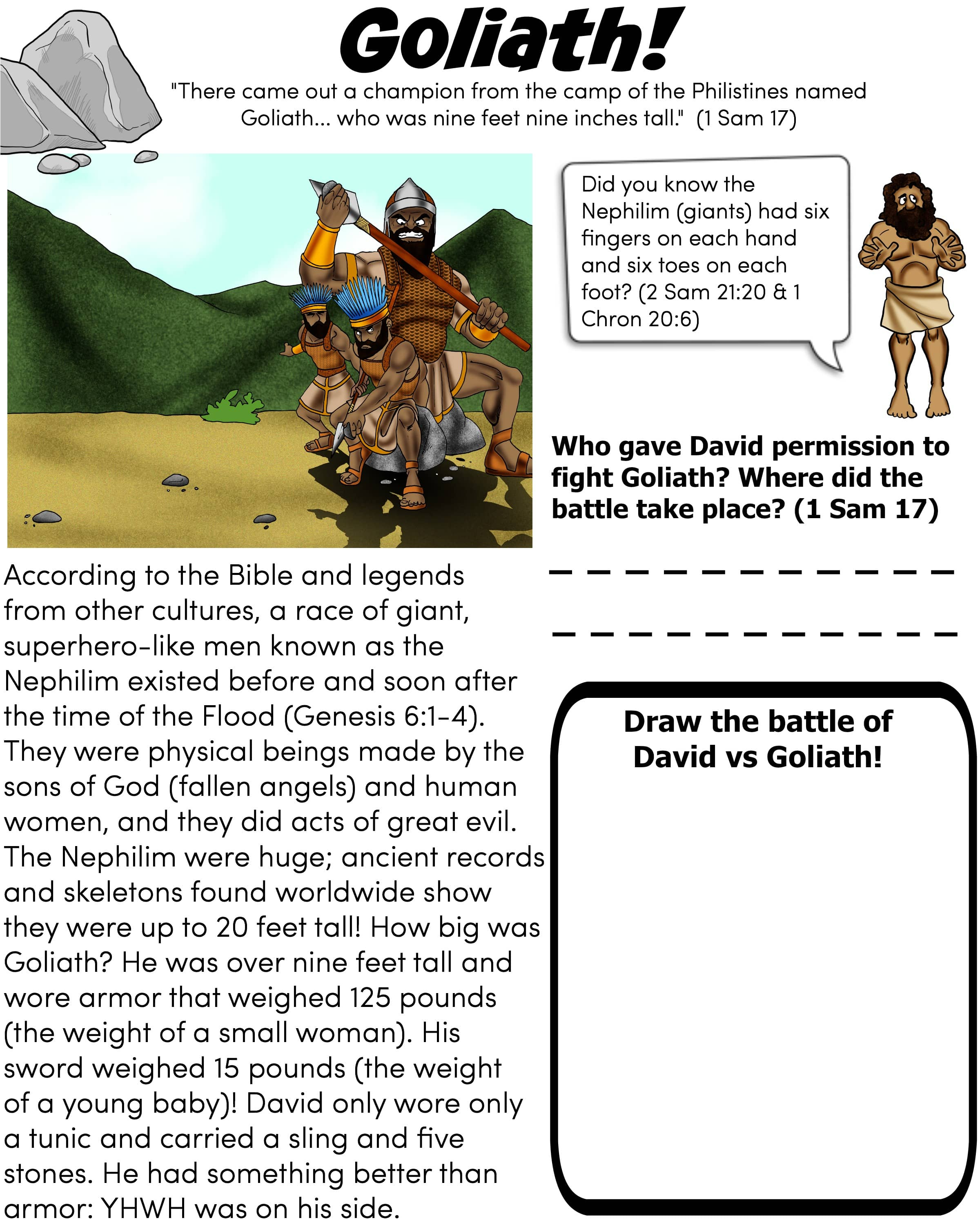 Goliath Bible Worksheet For Children