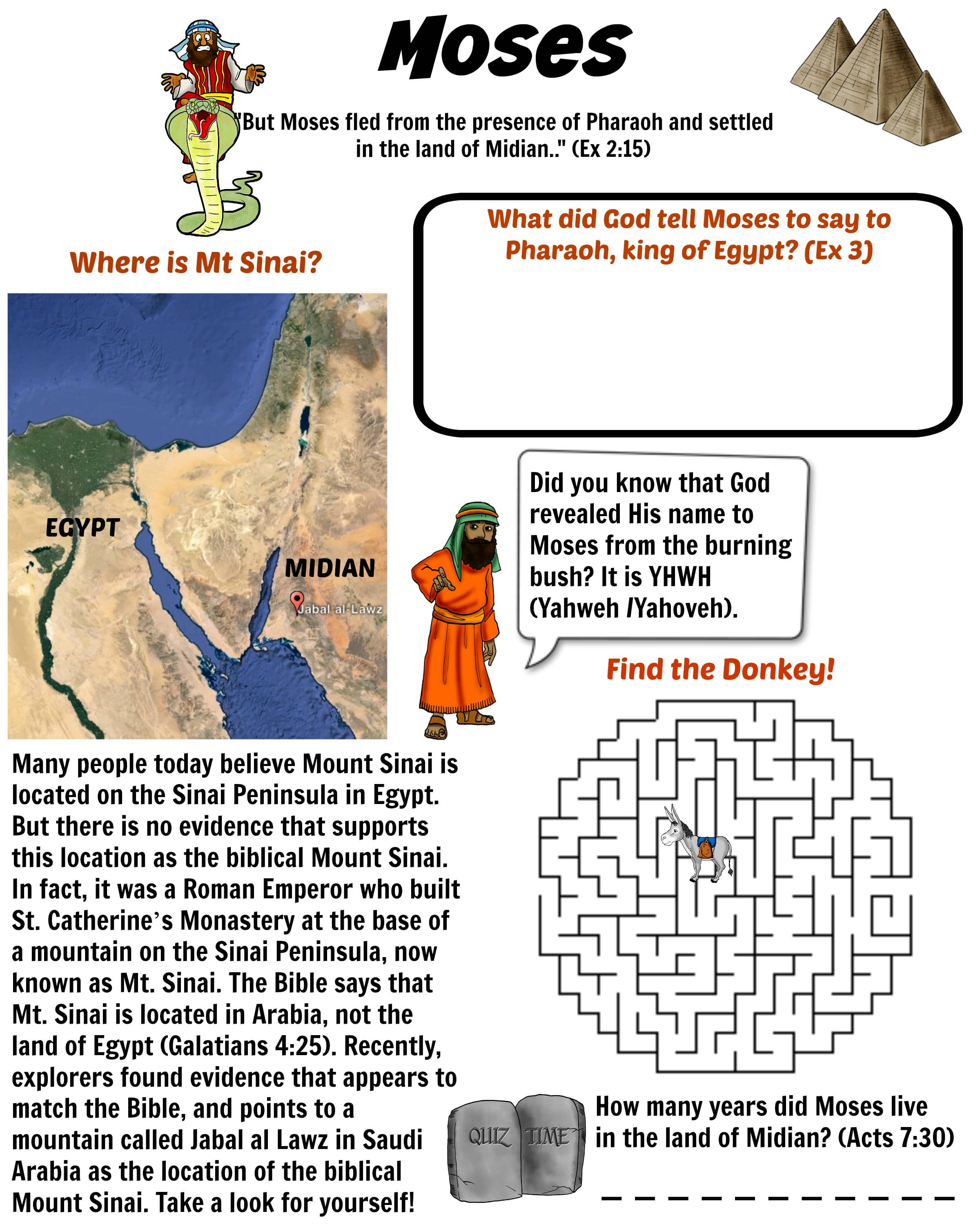 Moses And The Exodus Bible Worksheet