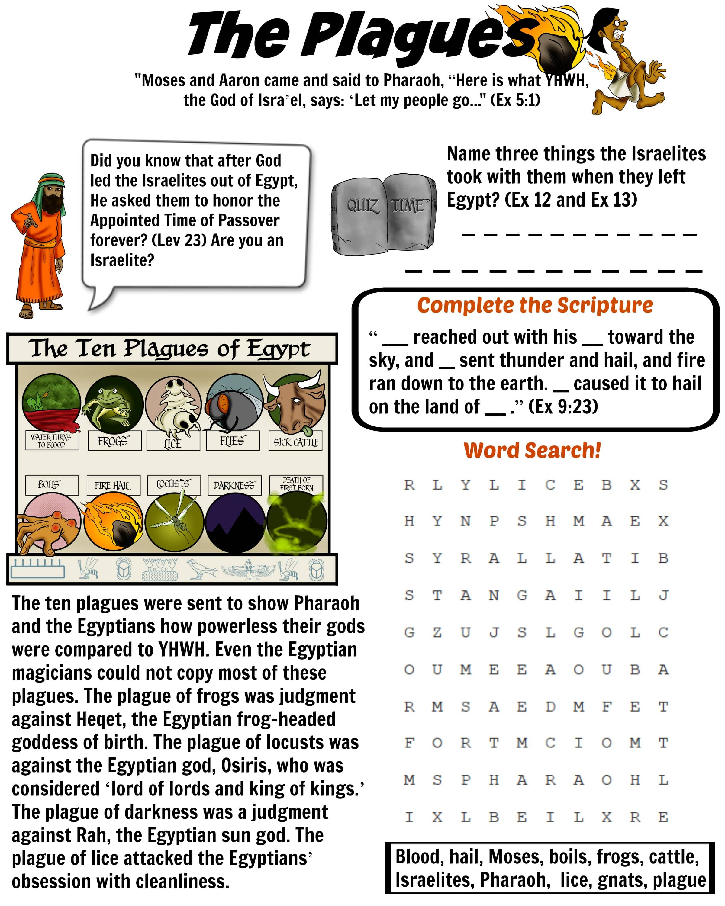 Free Ten Plagues Of Egypt Worksheet