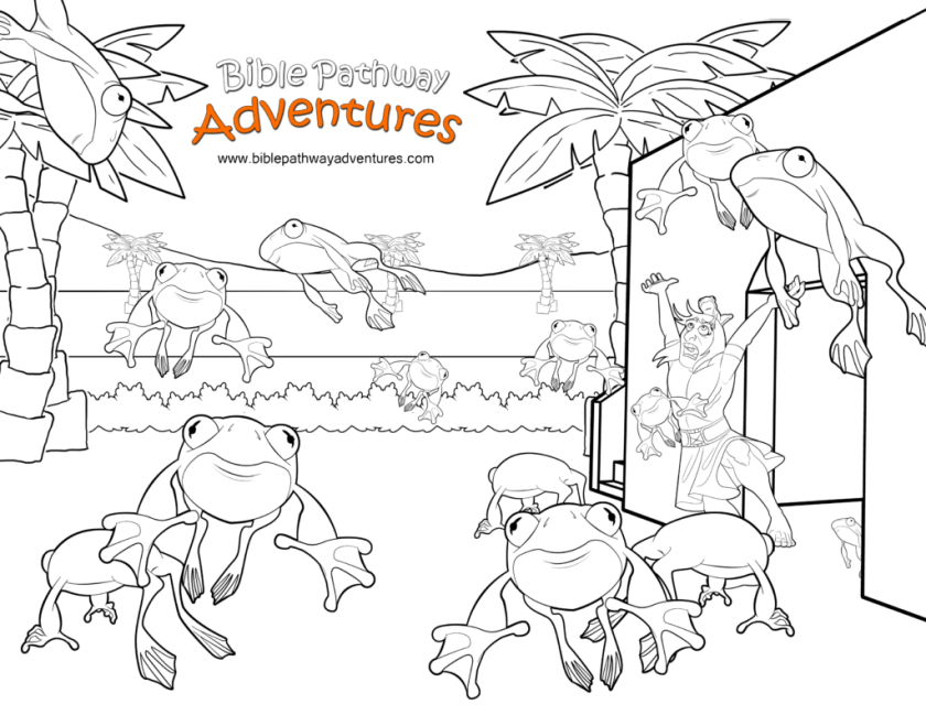 free bible coloring page plague of frogs  ten plagues of