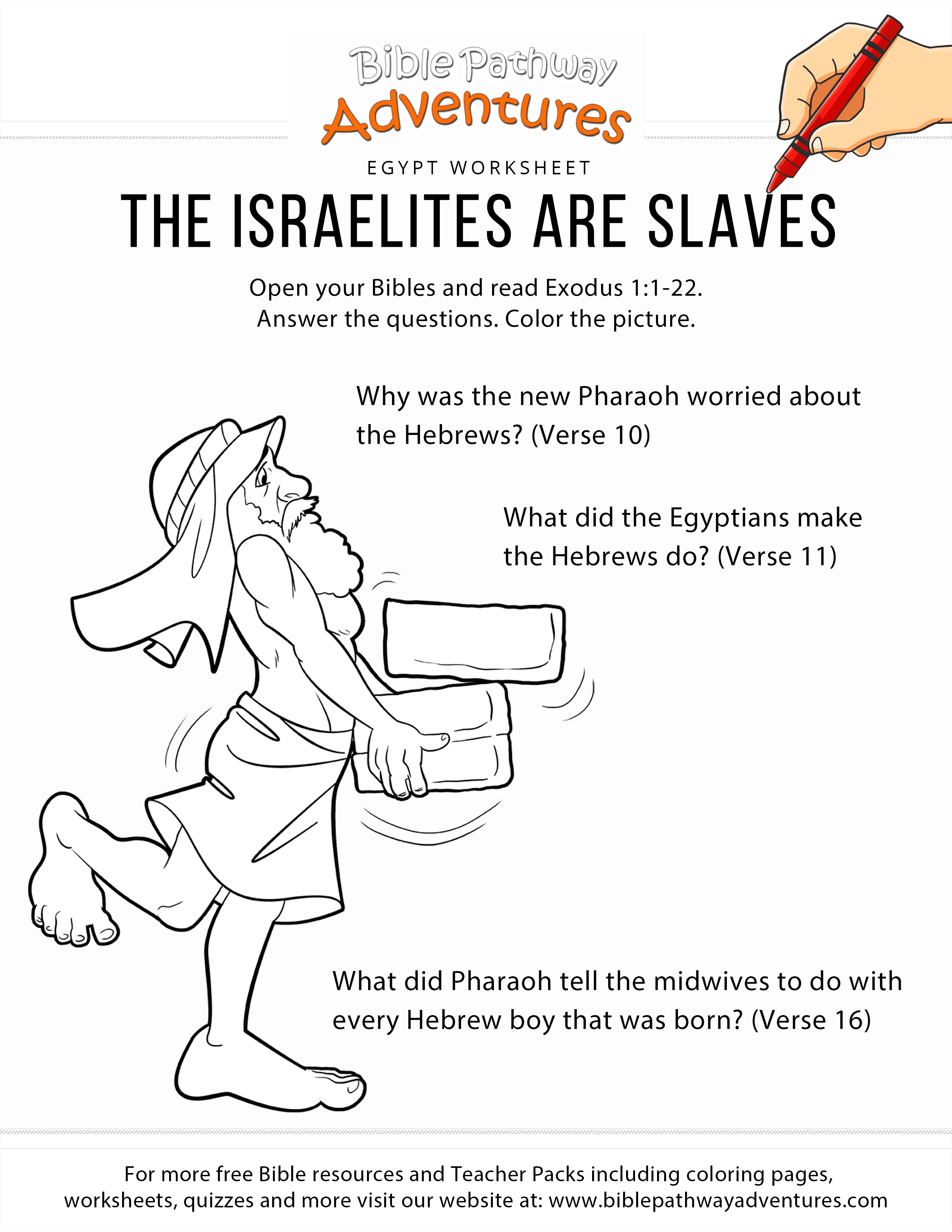 The Israelites Are Slaves Worksheet Bible Pathway Adventures