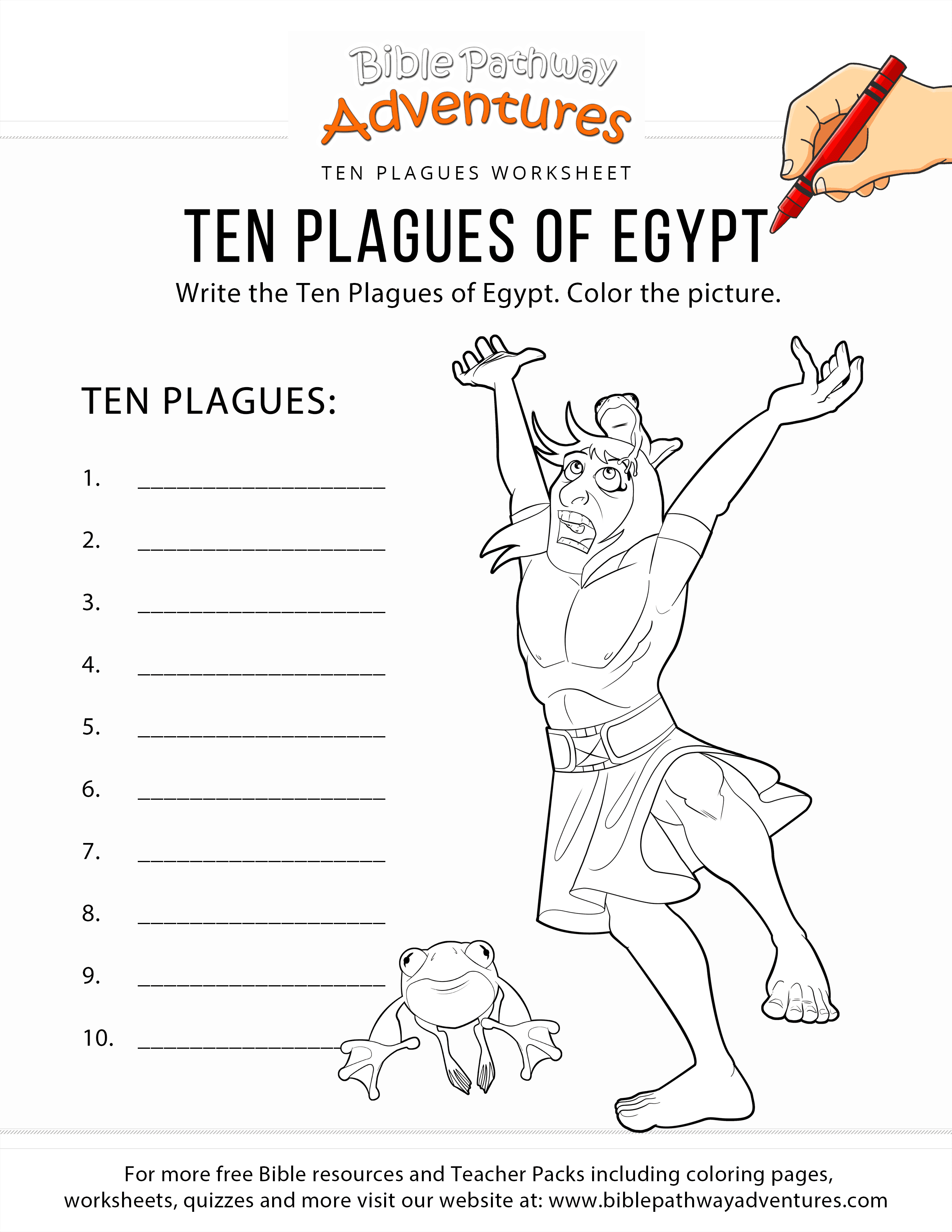 Ten Plagues Of Egypt Worksheet And Coloring Page Bible