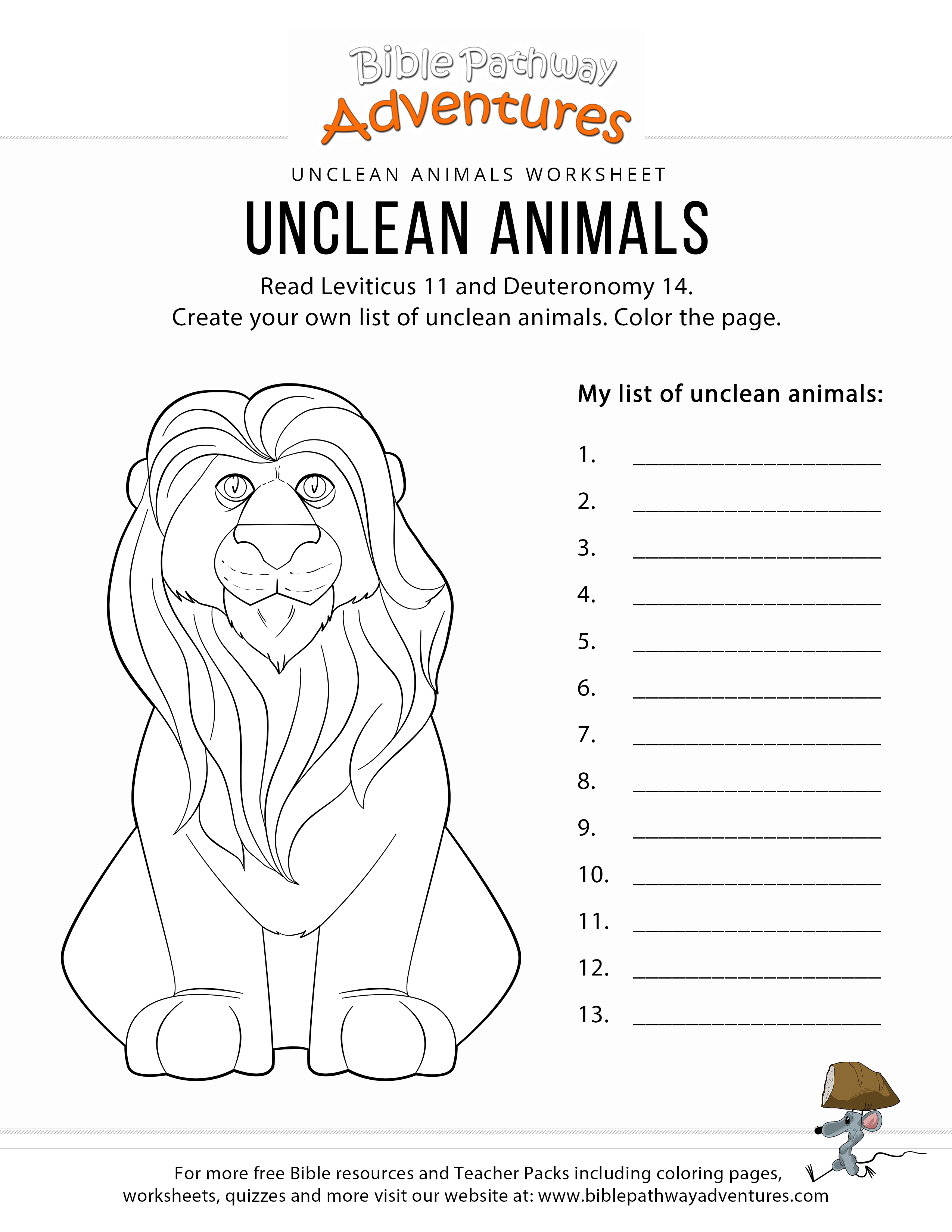 Unclean Animals Worksheet Amp Coloring Page Bible Pathway Adventures