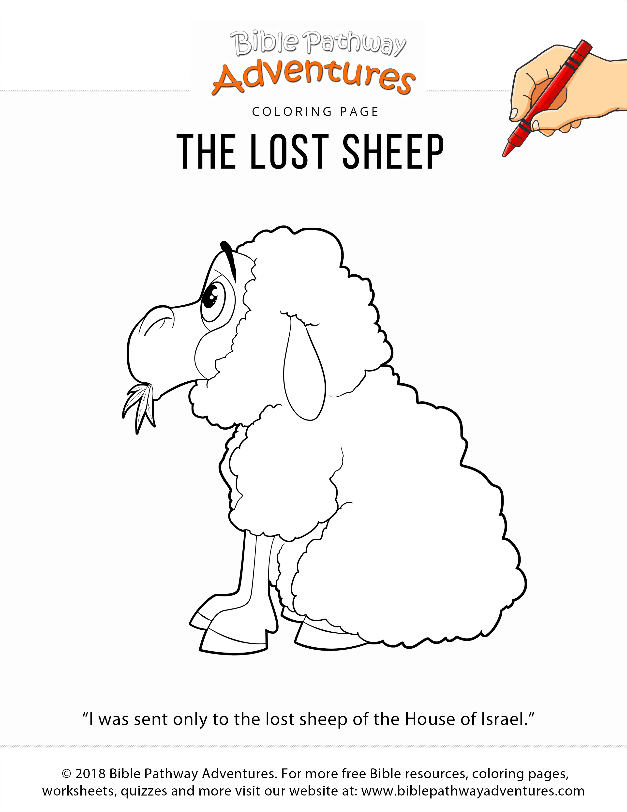 The Lost Sheep Coloring Page Bible Pathway Adventures