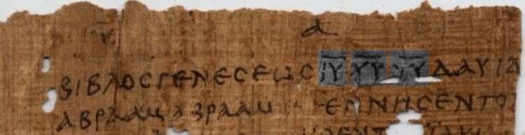 Nomina Sacra, Matthew 1:1, Papyrus 1 (A.D. 200-299)