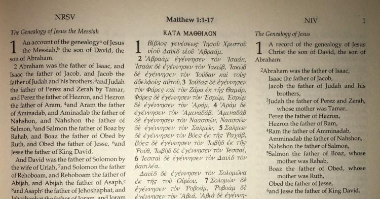 New Testament, Matthew 1: NRSV, Greek and NIV