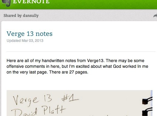 Verge13 Notes via Evernote