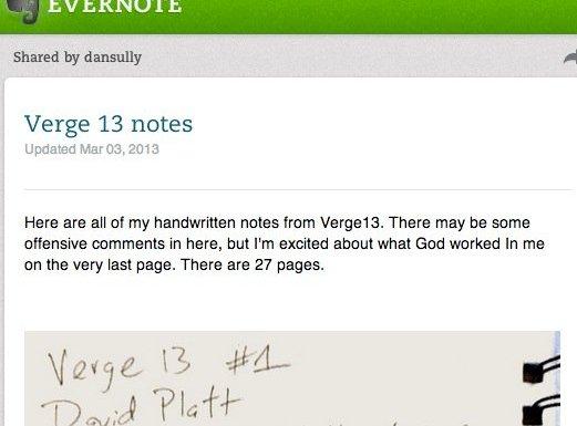 Verge13 Notes via Evernote