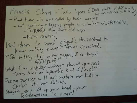 Francis Chan Exponential 13 Notes 1