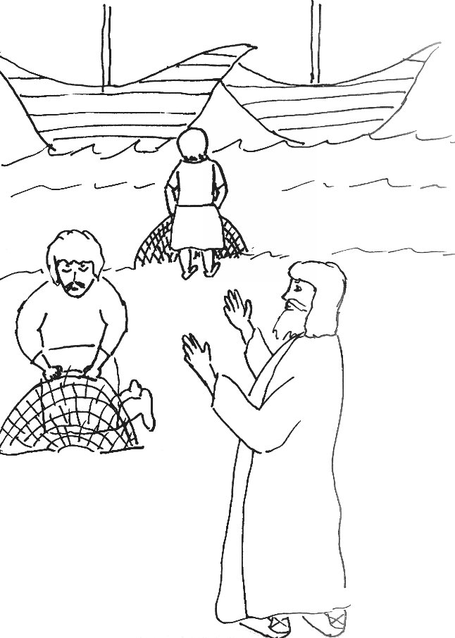 Bible Story Coloring Page for Jesus Chooses His Disciples