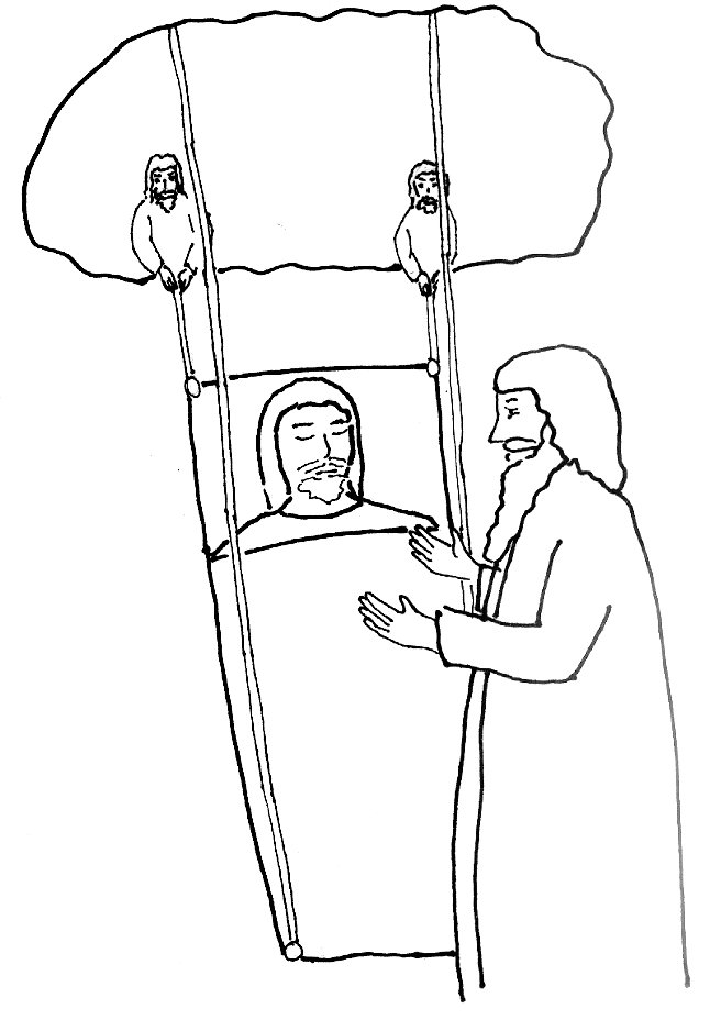 Bible Story Coloring Page for Jesus and the Man With Palsy