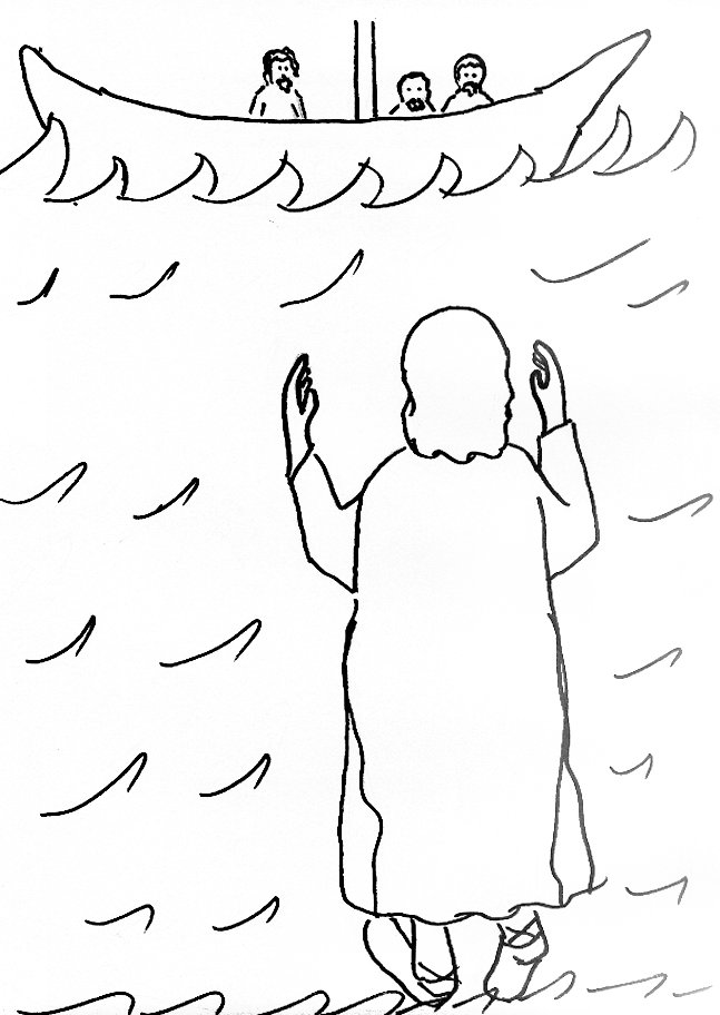 jesus walks on water coloring pages