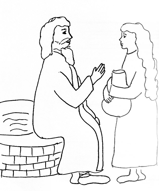 Bible Story Coloring Page for Jesus and the Woman at the