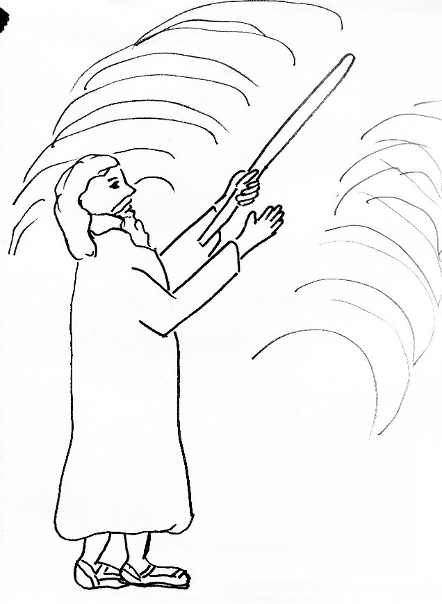 Bible Story Coloring Page for Moses and the Parting of the