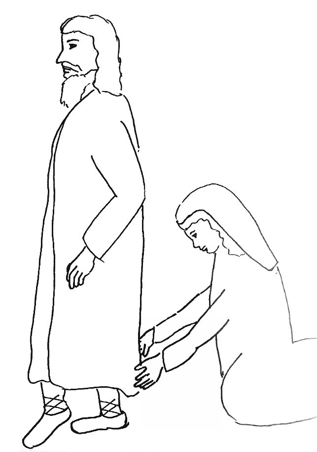 Bible Story Coloring Page for Jesus and the Woman with the