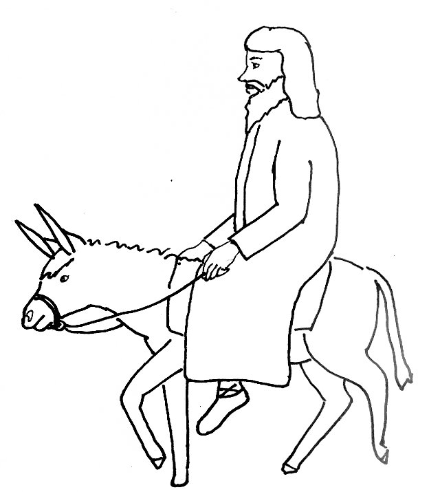 Bible Story Coloring Page for Jesus' Triumphant Entry into