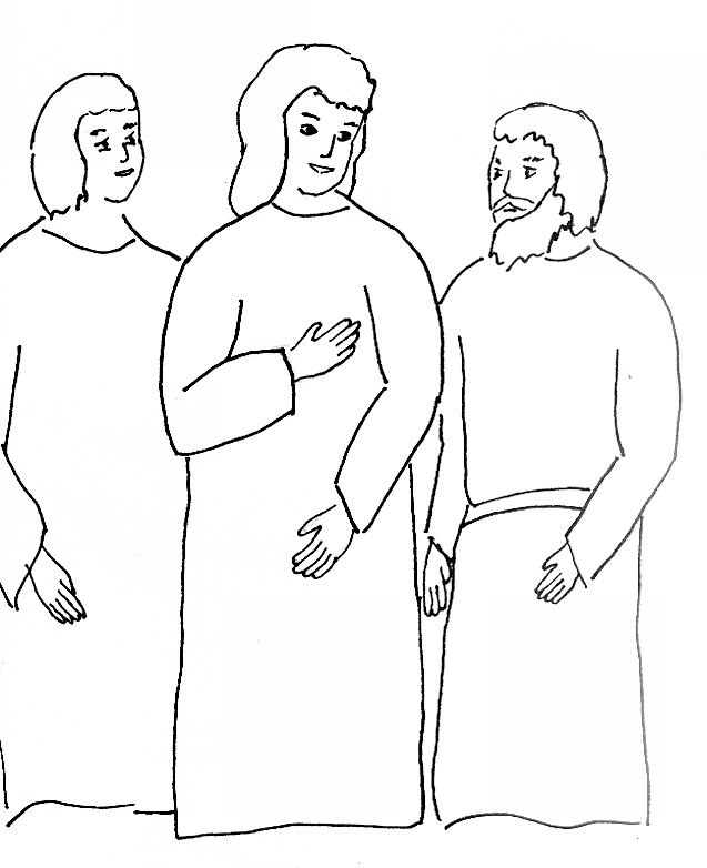 Bible Story Coloring Page for Risen Jesus Appears on the