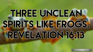 """THREE UNCLEAN SPIRITS LIKE FROGS."" Revelation 16:3"